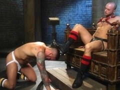 Gagged submissive hunk gets punished