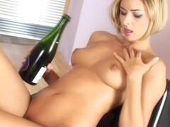 Czech babe Ellena strips and teases with champagne