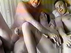 Russian slut has a groupsex party with 3 guys