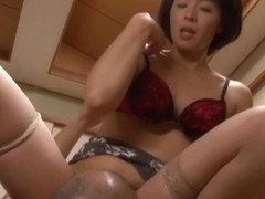 Naughty Asian milf Hisae Yabe likes her husband watching in group