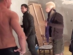 Petite blonde whore Dulsineya gets ganged banged