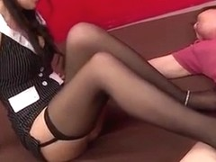 Japanese model in stockings fucks short guy