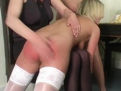Blond Teenies Spanked by Aged Woman