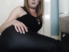 Girl farting in leather pants