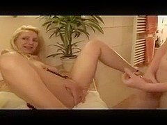 Amateur big tits blonde gets fucked and receives facial