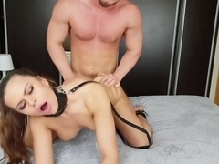 Submissive bitch Marie on a leash sucking and fucking