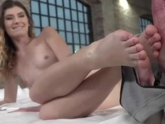 Slim babe with small tits and sensual soles, Candice Demelzza is giving amazing footjobs for free