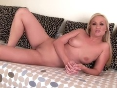 Stacked blonde Barbara Voice uses huge toys to please her narrow twat