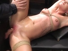Blonde gets threesome slave training