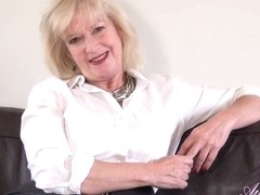 Dirty minded, blonde granny, Sapphire Louise is about to show us her new masturbation routine