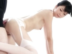 a japanese girl assjob White stockings