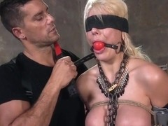 Blindfolded Huge Tits Blonde Gets Bondage Sex