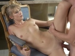 Blonde beauty, Casey and a guy she hasnt seen for a while are fucking in the kitchen