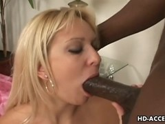 Large black rod interracial with hawt golden-haired sex!