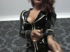 Riah Read in Black Jacket and Stockings - LatexHeavenVideo