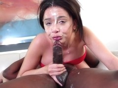 Latin honey, Aaliyah Hadid is gently sucking a big, black dick and eating some fresh cum