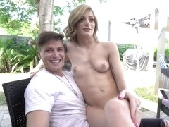 Slutty Petite Blonde Gets Fucked Outdoors