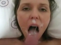 Huge load of cum on the sexy face