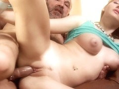 Blonde babe has a major kink on elderly guys, especially if they are happily married