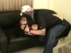 Petite asian forcefully hog tied