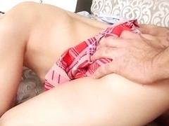 Stepdaughter gets her petite breasts covered in cum by daddy