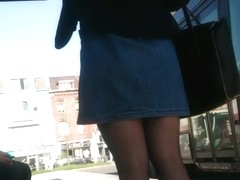 Candid pretty in black pantyhose #2