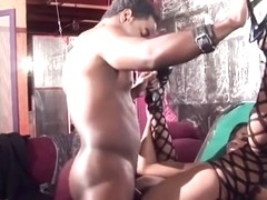 Leashed babe gets mouth fucked and facials in restaurant