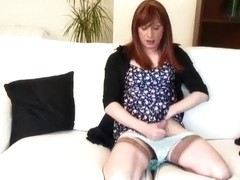Hottest Homemade Shemale record with Dildos/Toys, Stockings scenes