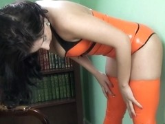 Coral-May Hall in Orange Top and Stockings - LatexHeavenVideo