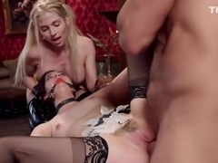 Dude fucks blonde slave and maid