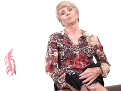 Kinky, blonde granny is masturbating in front of the camera, because it feels so fucking good