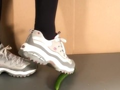 She crushed a cucumber with skechers sneaker