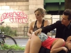 Busty slave spanked and fucked in public